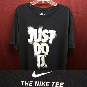 Nike Tee Black with White Text Just Do It XL